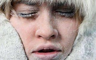 Обморожение лица, щек, носа, губ, языка и ушей
