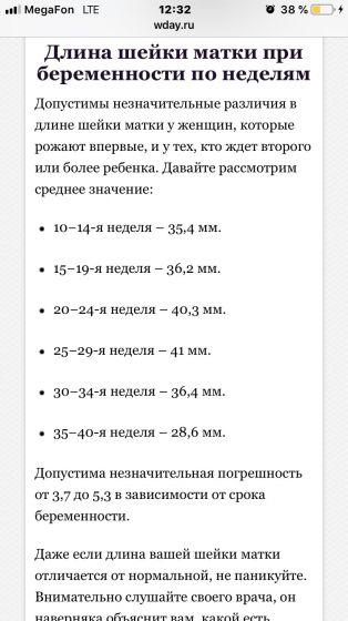Длина шейки матки при беременности на 22 неделе