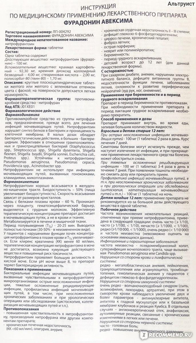 Показания к применению фурадонина: состав, аналоги и мнение специалиста