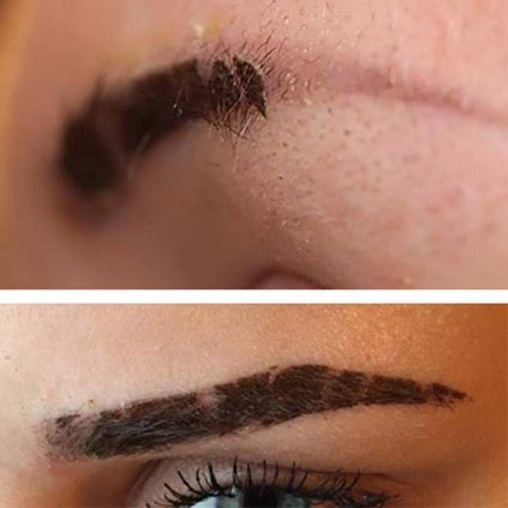 Пудровые брови до и после заживления