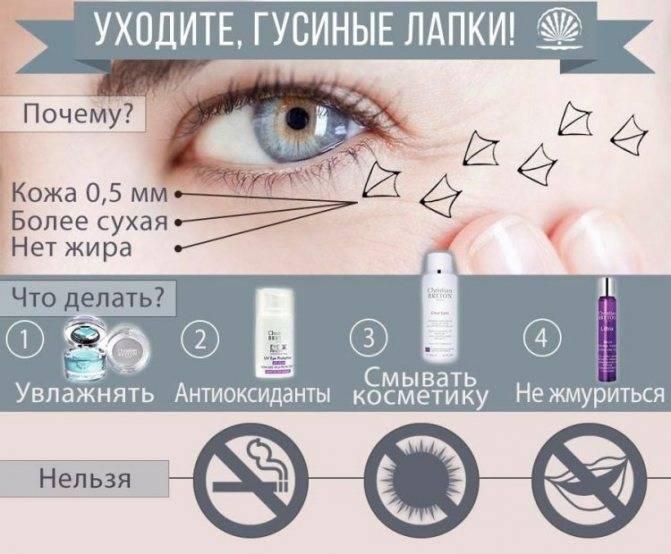 Как убрать гусиные лапки вокруг глаз — маски, компрессы, массаж