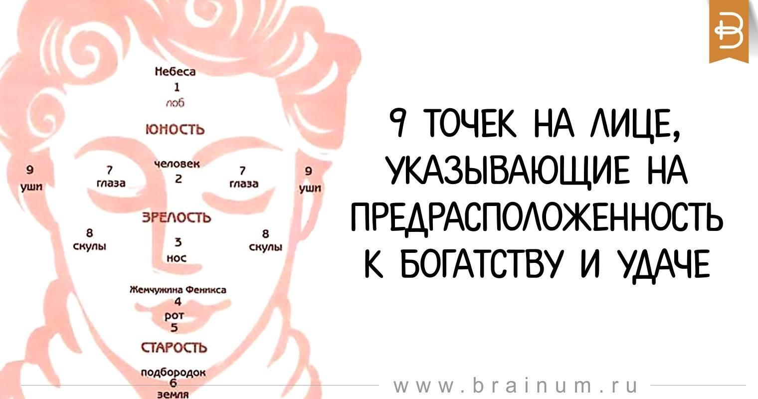 9 точек на лице, указывающие на предрасположенность к богатству и удаче
