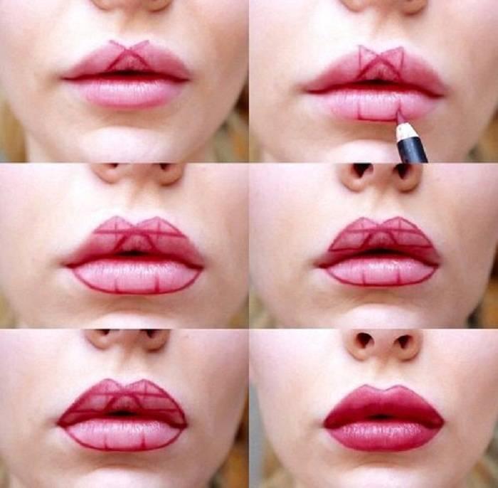 Техника и виды макияжа губ с фото и видео