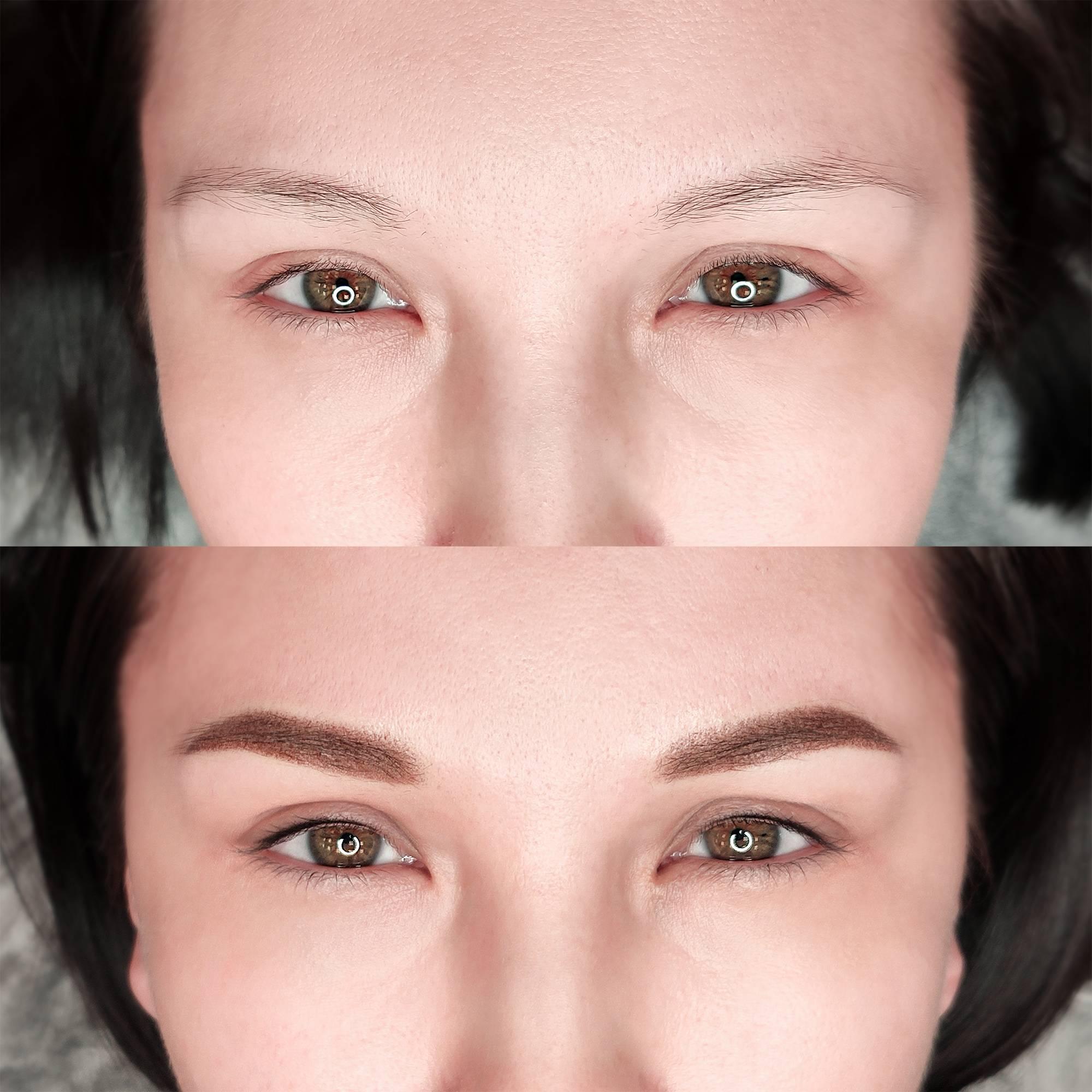 Модный татуаж глаз. до и после перманентного макияжа глаз.