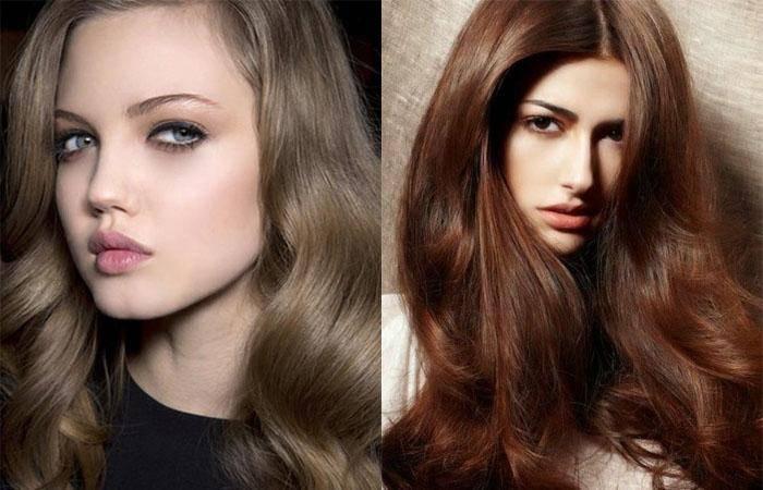 Красивый темный цвет волос без рыжины. краски, окрашивание на короткие и длинные волосы. фото